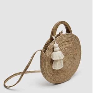Zara round raffia basket bag